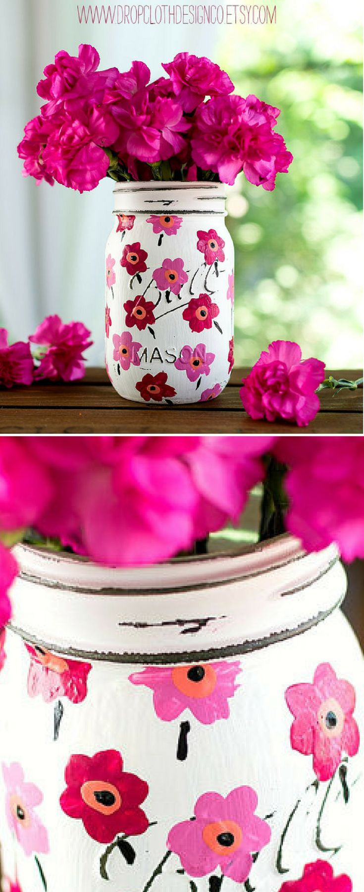 Pint-sized mason jar hand painted and distressed in white with pink Marimekko fabric iinspired flowers. Perfect gift idea for baby showers, weddings, Mother's Day, birthdays, Christmas and more. Pink Floral Centerpiece decor, Spring decor, Summer decor, dining room centerpiece Mason jar decor, Floral decor, rustic farmhouse home decor #ad