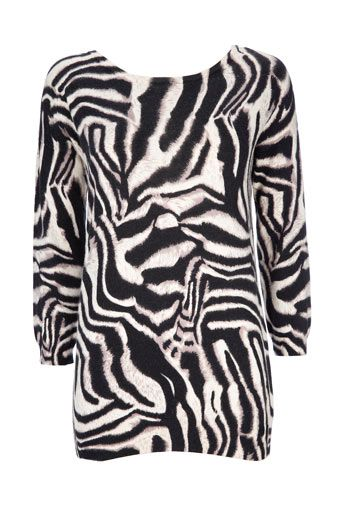 Black And Stone Animal Print Jumper - Knitwear  - Clothing $54