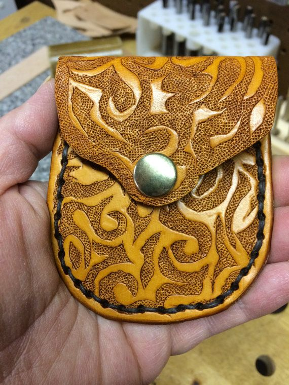 Coin Purse Hand Carved Original One Of A Kind Design on Etsy, $22.00
