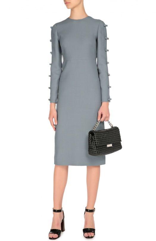Женское синее облегающее платье с завышенной талией и декоративной отделкой Valentino, сезон FW 16/17, арт. LB3VA9C0/1CF купить в ЦУМ | Фото №4