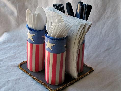 Quick and Easy Fourth of July Crafts: Utensils Holders, Crafts Ideas, Napkins Holders, July Crafts, Napkin Holders, 4Th Of July, Firecracker Napkins, Cardboard Tube, Kid