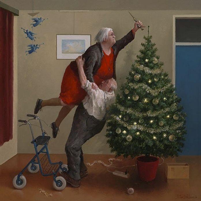 Dokkum, Marius van (b,1957)- Christmas Tree Topping (Kerstengeltjes)