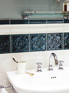 Empress Pearl and Tourmaline wall tiles http://www.firedearth.com/tiles/range/empress/empress-beatrice-tourmaline-1
