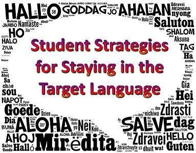 "Strategies for Staying in the Target Language Give a survival guide with key phrases and only allow English if they ask permission in Spanish first and eventually phase out the English. Also, use ""la rata"" doll for students who speak English. The only way to get it off is to..."