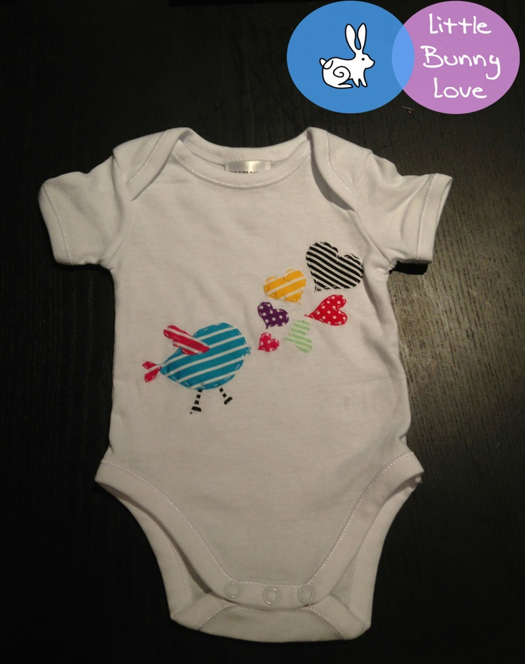 A Little Bunny Love Design Baby Onesie / All-in-one suit - Bird with Love - Size 000 (0 to 3 months). $12.00, via Etsy.