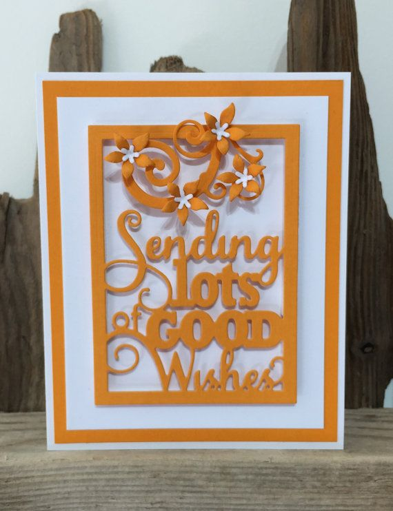 This lovely card has been made using one of the latest releases by Impression Obsession. The Good Wishes Word Block has been paired with dies by Memory Box (the flowers) and Sizzix (the flourish at the top).  The main block reads Sending lots of Good Wishes which has been cut from a vibrant orange cardstock. This has been mounted first on white cardstock, then another layer of orange cardstock before finally being mounted on a white card base.  The Sizzix flourish was cut from matching…