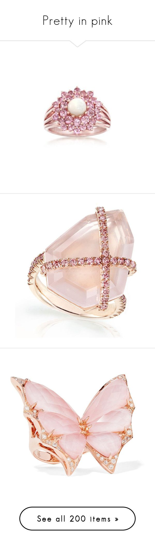 """""""Pretty in pink"""" by sasane ❤ liked on Polyvore featuring jewelry, rings, ross simons rings, pink tourmaline ring, gold opal jewelry, opal jewelry, round ring, diamond rings, diamond jewellery and rose quartz jewelry"""