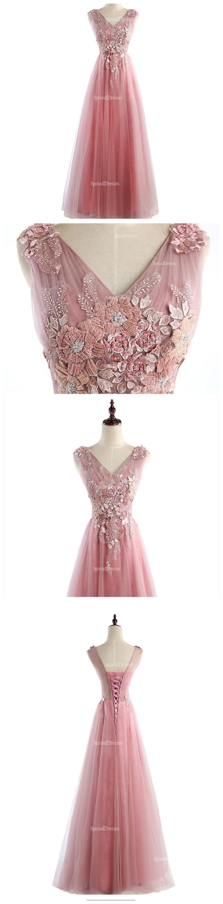Two Straps V Neckline Pink Lace Beaded Unique Long Evening Prom Dresses, Popular 2018 Party Prom Dresses, Custom Long Prom Dresses, Cheap Formal Prom Dresses, 17220