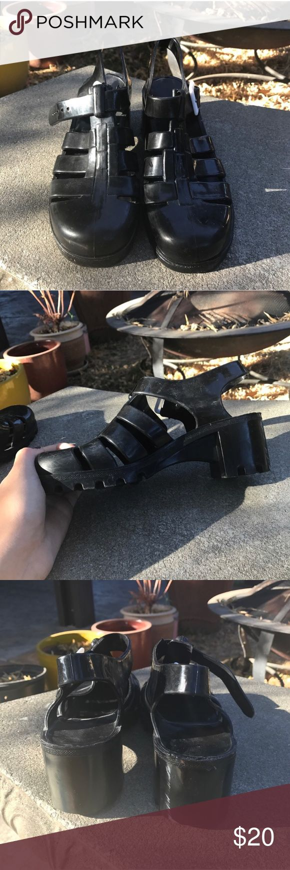 Black Juju Jelly Shoes Have a few scuff marks that I'm sure can be removed with some care. Really comfortable. Says size 6 but I am a size 8, my sister is a size 7 or 7 1/2 and they fit both of us great. JuJu Shoes Sandals