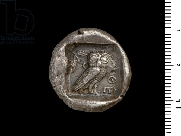 Athena Coin, view of the reverse depicting the Owl of Athens, c.440 BC (silver) (for obverse see 108198)