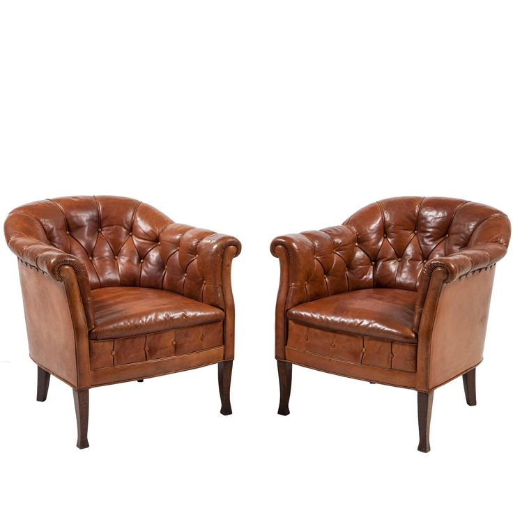 High Quality Pair Of Swedish Leather Club Chairs