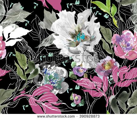 Seamless Pattern Hand Drawn Artwork Watercolor Illustration Peony and Doodle Leaves on Black Background - stock photo