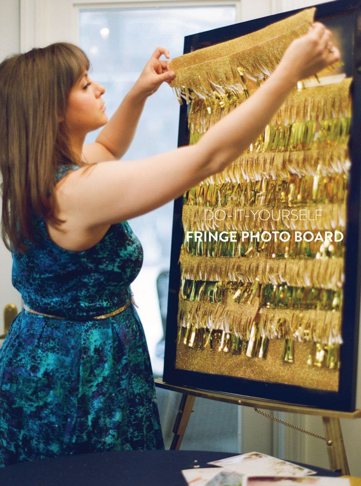 DIY Fringe Photo Board with easy pieces from Target: http://www.stylemepretty.com/2013/05/02/prep-chic-party-diys/ Photography: White Loft Studio, http://www.whiteloftstudio.com/ | Styling: Style Me Pretty, DIY materials: target.com