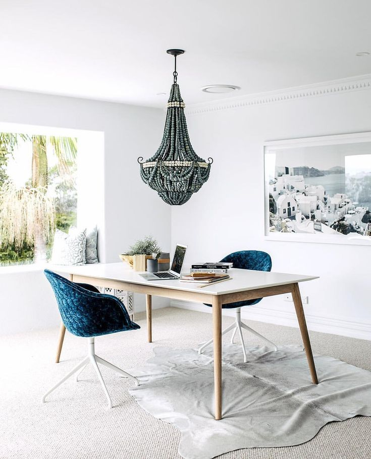 """632 Likes, 21 Comments - THREE BIRDS RENOVATIONS (@threebirdsrenovations) on Instagram: """"Lana's OFFICE REVEAL Picture windows, beaded chandeliers and velvet blue chairs... #canilivehere…"""""""