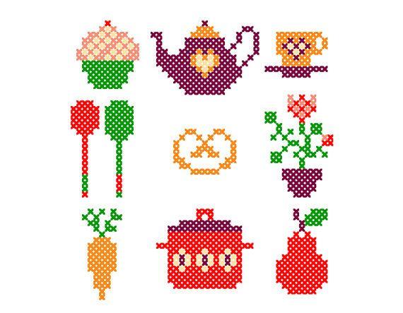 Happy Kitchen - Tiny PDF cross stitch patterns - Set of 9 - Home - Fruit