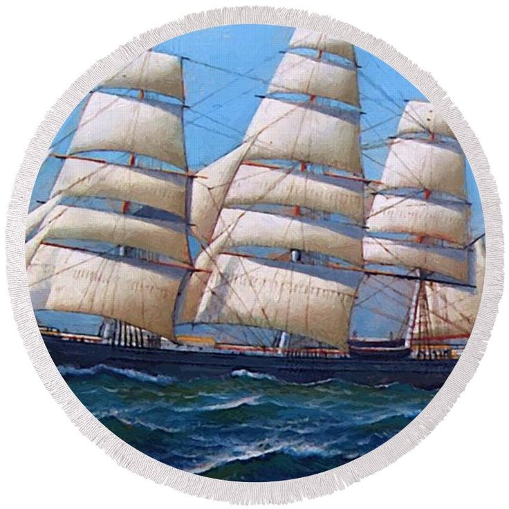 The Round Beach Towel featuring the painting The American Clipper Ship Gamecock Under Full Sail 1918 by Jacobsen Antonio