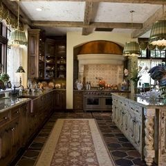 Scale, size of island, ceiling treatment. traditional kitchen by Marie Meko, Allied ASID. Traditional classic french country kitchen wood tone
