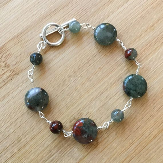 African Bloodstone and Sterling Silver Beads Bracelet