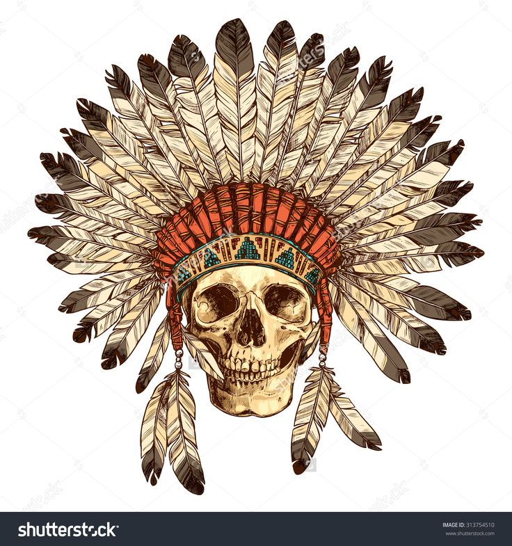 Hand Drawn Native American Indian Headdress With Human Skull. Vector Color Illustration Of Indian Tribal