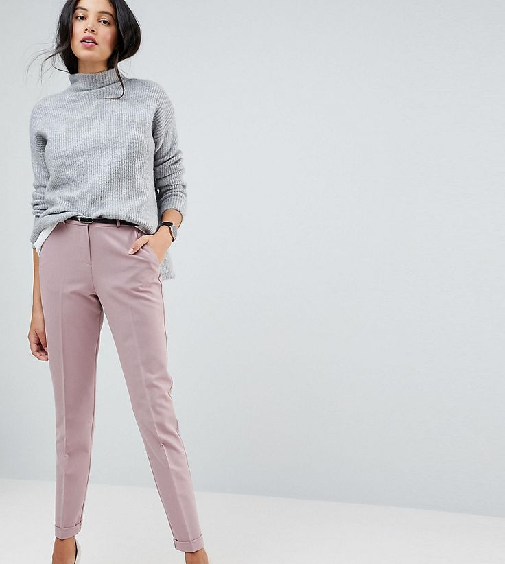 ASOS TALL Cigarette Pants With Belt - Pink