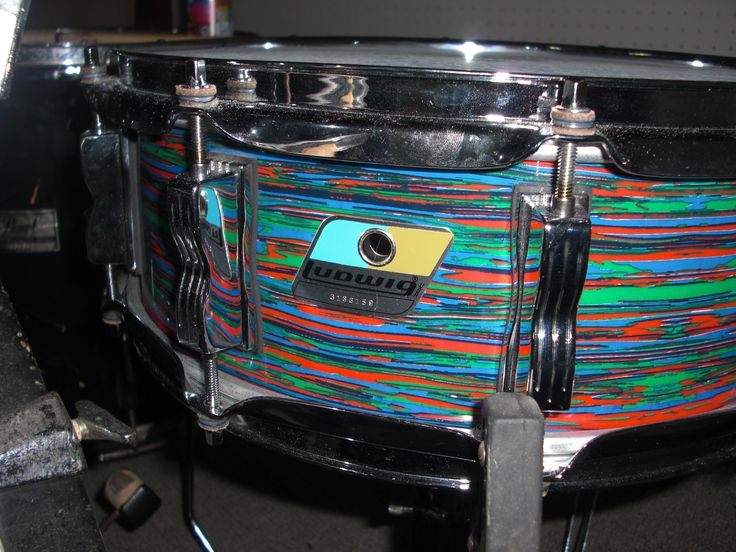Ludwig B/O Snare drum - psychedelic red wrap.
