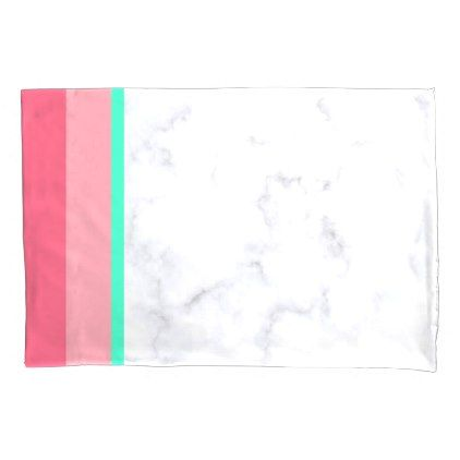 #elegant white marble pastel pink melon mint pillow case - #Pillowcases #Pillowcase #Home #Bed #Bedding #Living