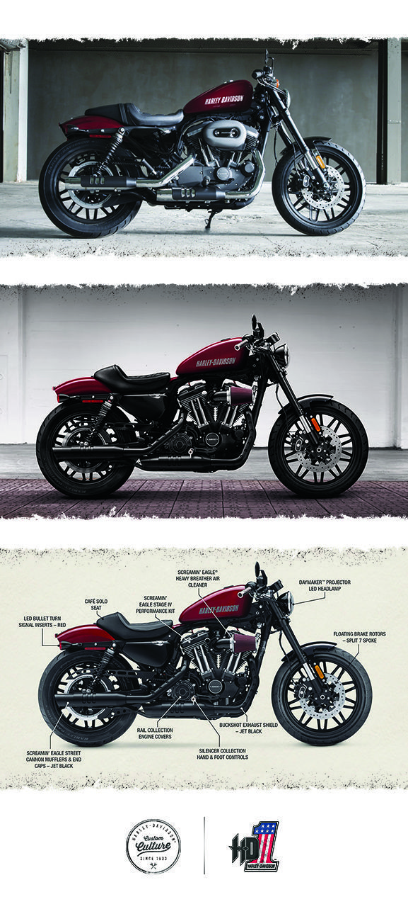 Stoplight-to-stoplight power, agility and garage-built custom style to shatter every mold. | 2016 Harley-Davidson Roadster