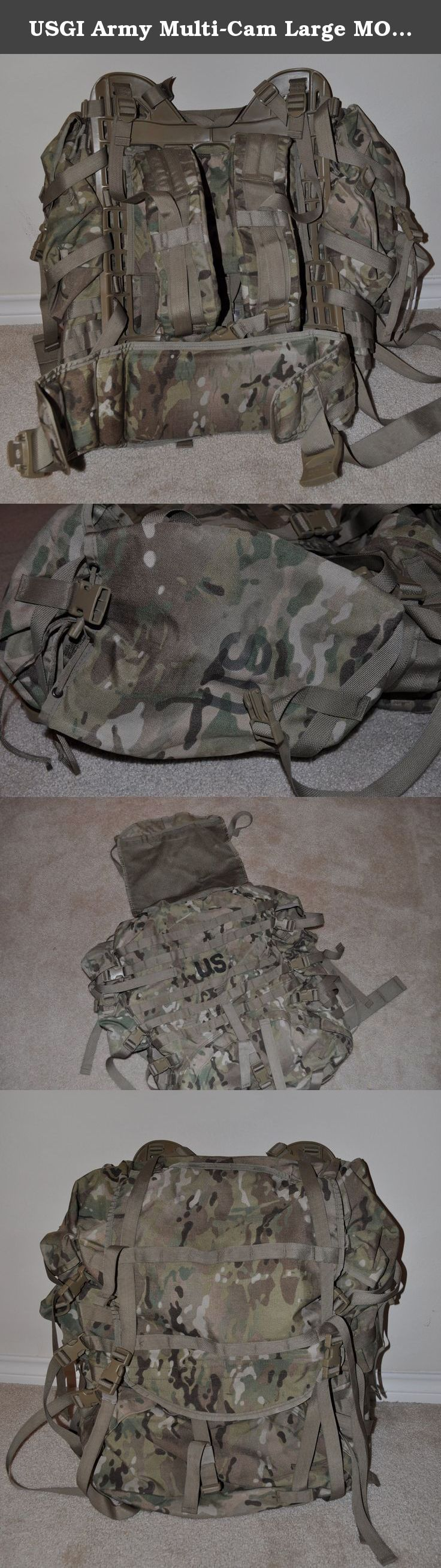 USGI Army Multi-Cam Large MOLLE II Rucksack. USGI Army Multi-Cam Large Modular Lightweight Load-Bearing Equipment (MOLLE) II Rucksack - Complete w/ frame, shoulder straps, hip belt and 2 sustainment pouches. Comes assembled.