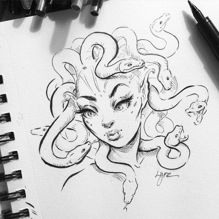 "2,043 Likes, 21 Comments - LYdia FEnwick (@lyfeillustration) on Instagram: ""Lil medusa sketch  I've been super busy getting back into school. Tuesday's and Wednesdays I have…"""