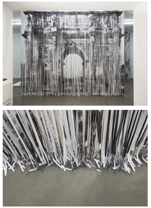 Naama Arad   Shredded Paper Installation. When I first looked at this I sneered 'that's not very arty' then I looked at the top picture properly and realised that it makes an arch picture and must have taken ages to get the paper in the right order!
