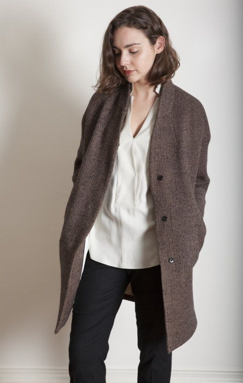 Pomandere Textured Brown Wool Coat - Outerwear