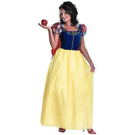 Disney Snow White Deluxe Adult Costume, Yellow/Red/Blue, Medium/8-10