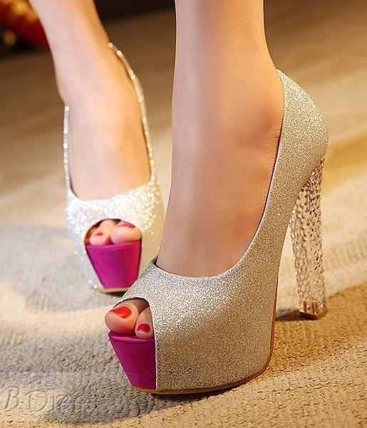 Perfect Silver Chunky Heel Platform PromParty Women Pumps