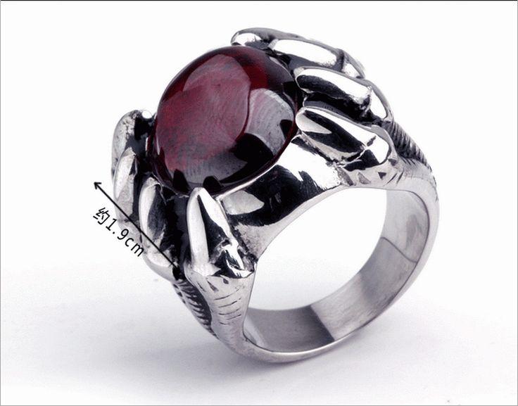Модные осьминожка рубин из нержавеющей стали 316L титана стали мужские безымянный палец приток людей кольцо-тянуть мужчины ювелирные изделия