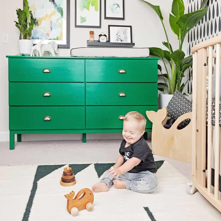 Colorful and Modern Toddler Room - love this kelly green IKEA dresser for a fun pop of color!