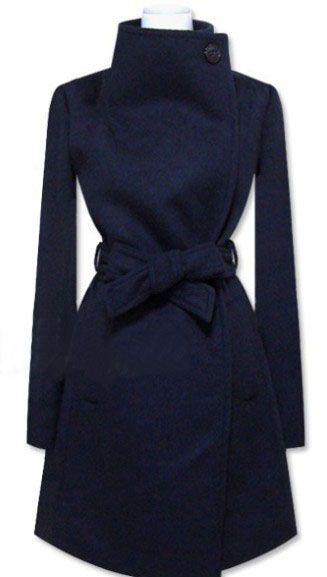 Navy Long Sleeve Shawl Collar Self Tie Duffle Coat