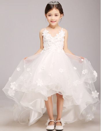 2016 Style Charming Spaghetti Straps V-neck High-Low Girls First Communion Dresses with Sash/ Asymmetrical Hem Satin and Tulle Flower Girl Dresses with Petal Detailing