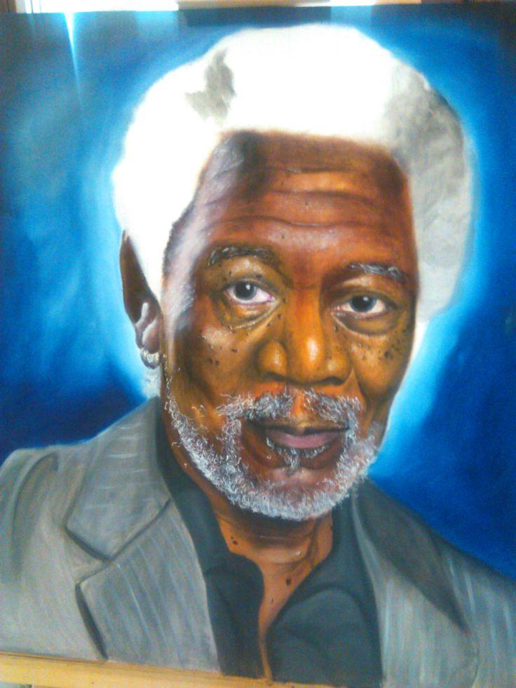 Morgan Freeman work in progress Olio su tela  #morgan #freeman #actor #oil #on #canvas #color