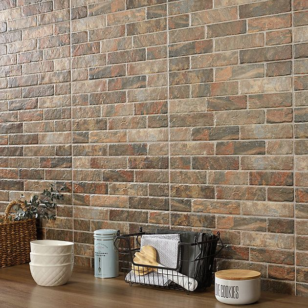 Dauco Multicolour Stone Effect Plaquet Brick Clay Wall Tile Pack Of 12 L 500mm W 250mm Clay Wall Wall Tiles Matt Stone