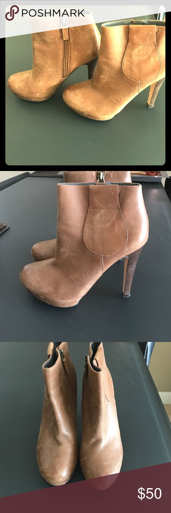 Rosegold brand Tan leather ankle boots. Sz 7.5 Distressed leather ankle boots by Rosegold. Tan / Camel colored. Size 7.5. Great condition! Rosegold Shoes Ankle Boots & Booties