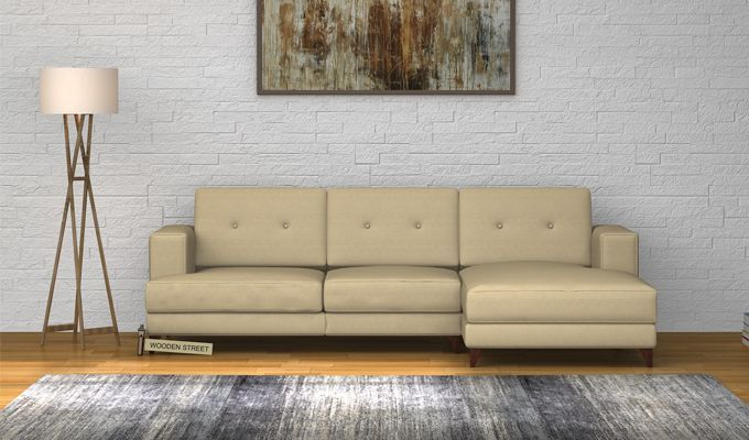 Buy Robert L Shape Fabric Sofa Irish Cream Online In India Corner Sofa Sofa Set Designs Corner Sofa Set
