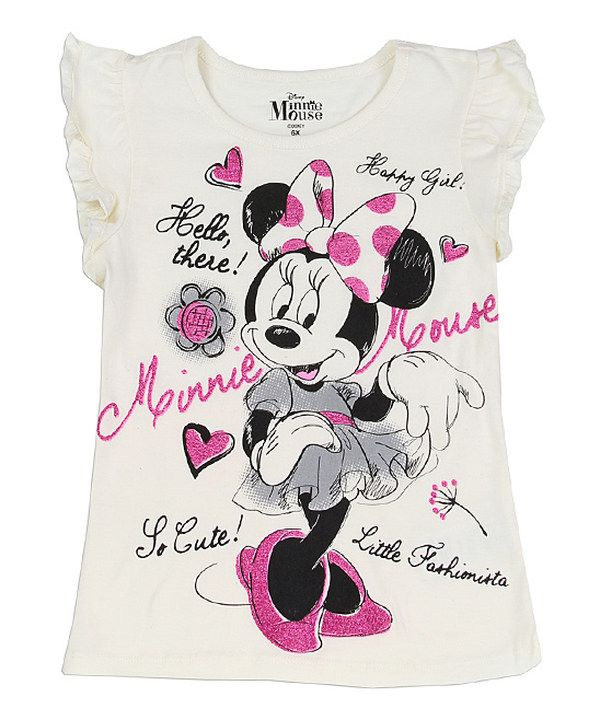 Look at this Off White Minnie Mouse Tee - Girls on #zulily today!