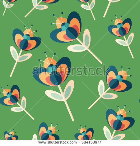 Royal flowers flat icon seamless pattern. #flowerpattern #vectorpattern #patterndesign #seamlesspattern