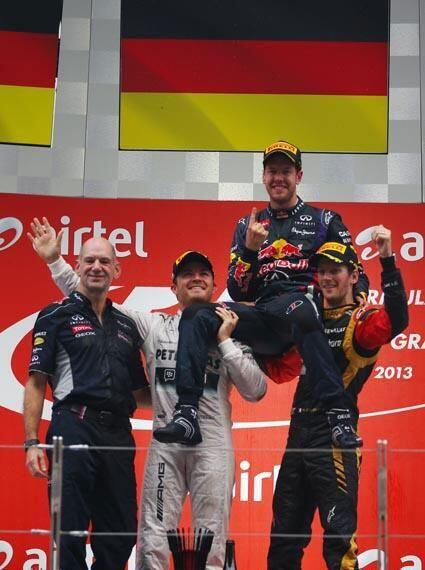 Indian GP 2013 podium...Vettel wins his 4th World Championship