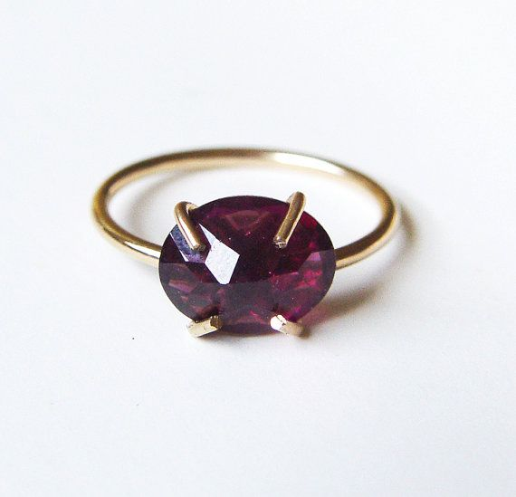 Red Garnet Gold Ring OOAK Rose Cut by friedasophie on Etsy
