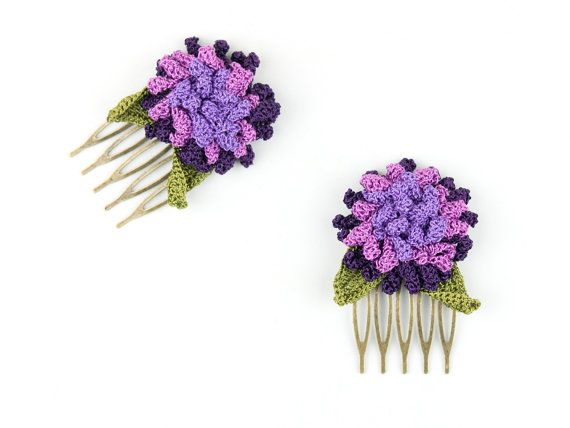 Check out this item in my Etsy shop https://www.etsy.com/listing/268291063/hair-comb-crochet-purple-flower-hair