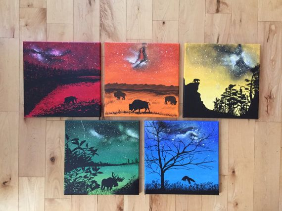 Canadian Wildlife in Silhouette  5 Canvas Set of by KristiBonham