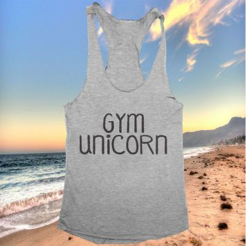 Gym unicorn racerback tank top ladies women girl workout fitness gift funny cute