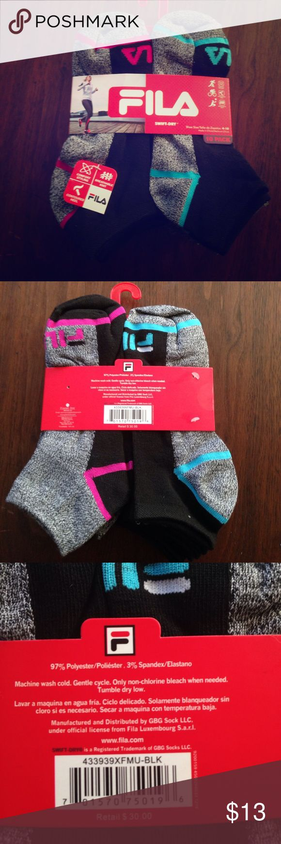 Fila swift dry women's socks 10 pack! Fila swift dry women's socks. Shoe size 4-10. Comfort styling, breathable knit, contoured heel. Fila Accessories Hosiery & Socks