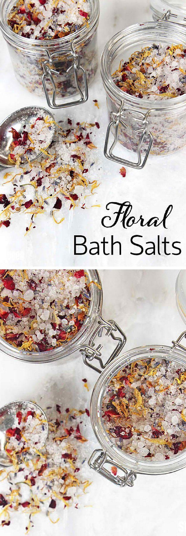 Floral Bath Salts | 17 DIY Bath Salts | Learn How To Make The Most Relaxing Bath Salt Recipes by DIY Ready at http://diyready.com/17-diy-bath-salts-bath-salt-recipe/